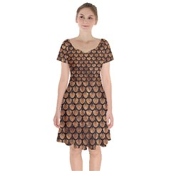 Scales3 Black Marble & Brown Stone (r) Short Sleeve Bardot Dress
