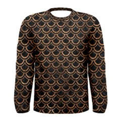 Scales2 Black Marble & Brown Stone Men s Long Sleeve Tee