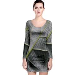 Leaf Detail Macro Of A Leaf Long Sleeve Bodycon Dress