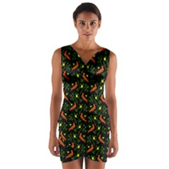 Birds Wrap Front Bodycon Dress