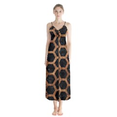 Hexagon2 Black Marble & Brown Stone Button Up Chiffon Maxi Dress