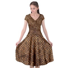 Hexagon1 Black Marble & Brown Stone (r) Cap Sleeve Wrap Front Dress