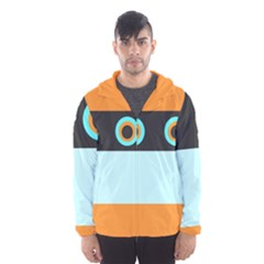 Orange, Aqua, Black Spots And Stripes Hooded Wind Breaker (men)