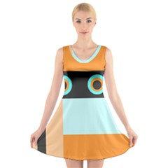 Orange, Aqua, Black Spots And Stripes V Neck Sleeveless Skater Dress