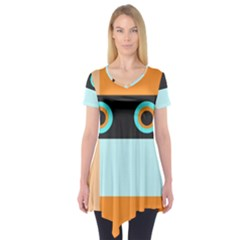 Orange, Aqua, Black Spots And Stripes Short Sleeve Tunic