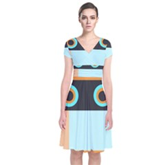 Orange, Aqua, Black Spots And Stripes Short Sleeve Front Wrap Dress