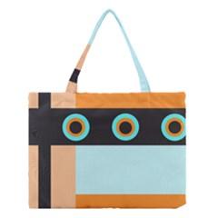 Orange, Aqua, Black Spots And Stripes Medium Tote Bag