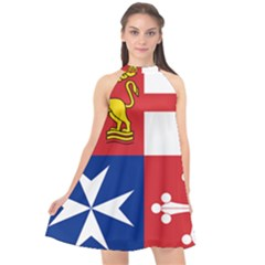 Naval Jack Of Italian Navy  Halter Neckline Chiffon Dress