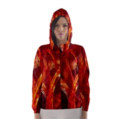Red Abstract Pattern Texture Hooded Wind Breaker (women)