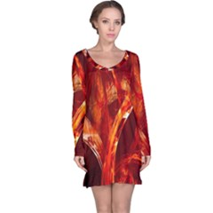 Red Abstract Pattern Texture Long Sleeve Nightdress