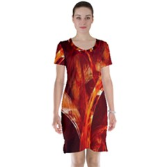 Red Abstract Pattern Texture Short Sleeve Nightdress
