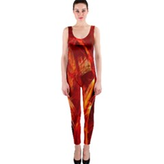 Red Abstract Pattern Texture Onepiece Catsuit