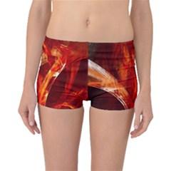 Red Abstract Pattern Texture Boyleg Bikini Bottoms