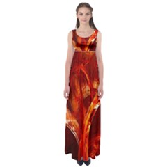 Red Abstract Pattern Texture Empire Waist Maxi Dress