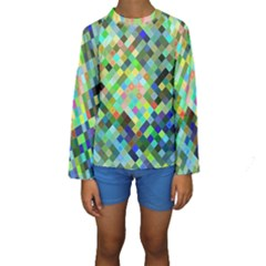Pixel Pattern A Completely Seamless Background Design Kids  Long Sleeve Swimwear