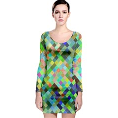 Pixel Pattern A Completely Seamless Background Design Long Sleeve Bodycon Dress