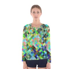 Pixel Pattern A Completely Seamless Background Design Women s Long Sleeve Tee