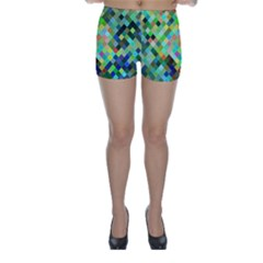 Pixel Pattern A Completely Seamless Background Design Skinny Shorts