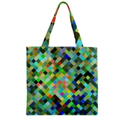 Pixel Pattern A Completely Seamless Background Design Zipper Grocery Tote Bag