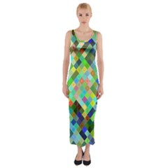Pixel Pattern A Completely Seamless Background Design Fitted Maxi Dress