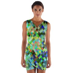 Pixel Pattern A Completely Seamless Background Design Wrap Front Bodycon Dress