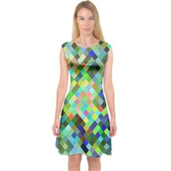 Pixel Pattern A Completely Seamless Background Design Capsleeve Midi Dress