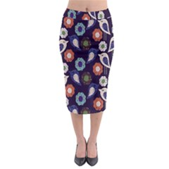 Cute Birds Seamless Pattern Midi Pencil Skirt