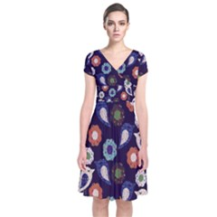Cute Birds Seamless Pattern Short Sleeve Front Wrap Dress