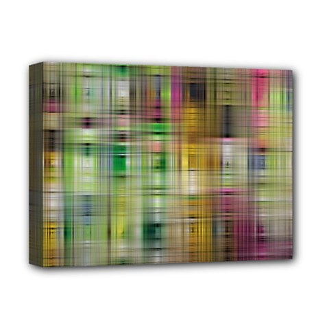 Woven Colorful Abstract Background Of A Tight Weave Pattern Deluxe Canvas 16  X 12
