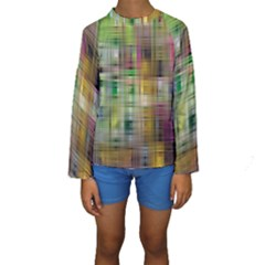 Woven Colorful Abstract Background Of A Tight Weave Pattern Kids  Long Sleeve Swimwear