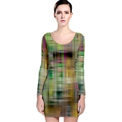 Woven Colorful Abstract Background Of A Tight Weave Pattern Long Sleeve Bodycon Dress