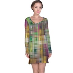 Woven Colorful Abstract Background Of A Tight Weave Pattern Long Sleeve Nightdress