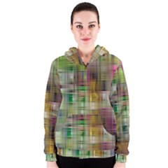 Woven Colorful Abstract Background Of A Tight Weave Pattern Women s Zipper Hoodie
