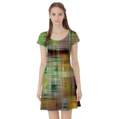 Woven Colorful Abstract Background Of A Tight Weave Pattern Short Sleeve Skater Dress