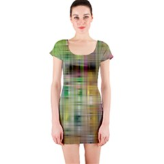 Woven Colorful Abstract Background Of A Tight Weave Pattern Short Sleeve Bodycon Dress