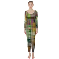Woven Colorful Abstract Background Of A Tight Weave Pattern Long Sleeve Catsuit