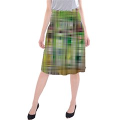 Woven Colorful Abstract Background Of A Tight Weave Pattern Midi Beach Skirt