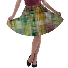 Woven Colorful Abstract Background Of A Tight Weave Pattern A Line Skater Skirt