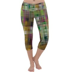 Woven Colorful Abstract Background Of A Tight Weave Pattern Capri Yoga Leggings