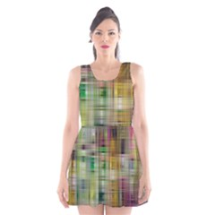 Woven Colorful Abstract Background Of A Tight Weave Pattern Scoop Neck Skater Dress