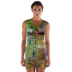 Woven Colorful Abstract Background Of A Tight Weave Pattern Wrap Front Bodycon Dress
