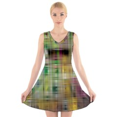 Woven Colorful Abstract Background Of A Tight Weave Pattern V Neck Sleeveless Skater Dress