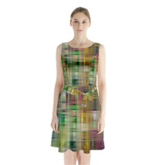 Woven Colorful Abstract Background Of A Tight Weave Pattern Sleeveless Waist Tie Chiffon Dress