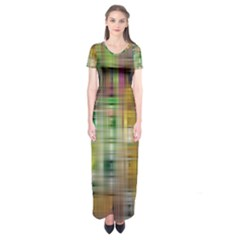 Woven Colorful Abstract Background Of A Tight Weave Pattern Short Sleeve Maxi Dress