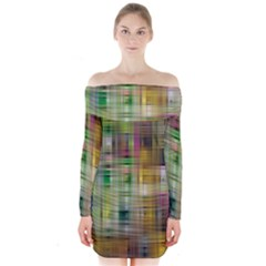 Woven Colorful Abstract Background Of A Tight Weave Pattern Long Sleeve Off Shoulder Dress