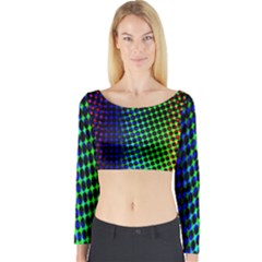 Digitally Created Halftone Dots Abstract Long Sleeve Crop Top
