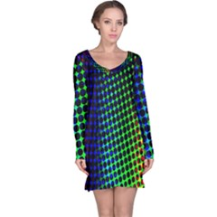 Digitally Created Halftone Dots Abstract Long Sleeve Nightdress