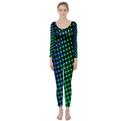 Digitally Created Halftone Dots Abstract Long Sleeve Catsuit