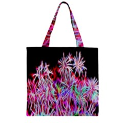 Fractal Fireworks Display Pattern Zipper Grocery Tote Bag