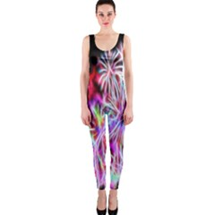 Fractal Fireworks Display Pattern Onepiece Catsuit